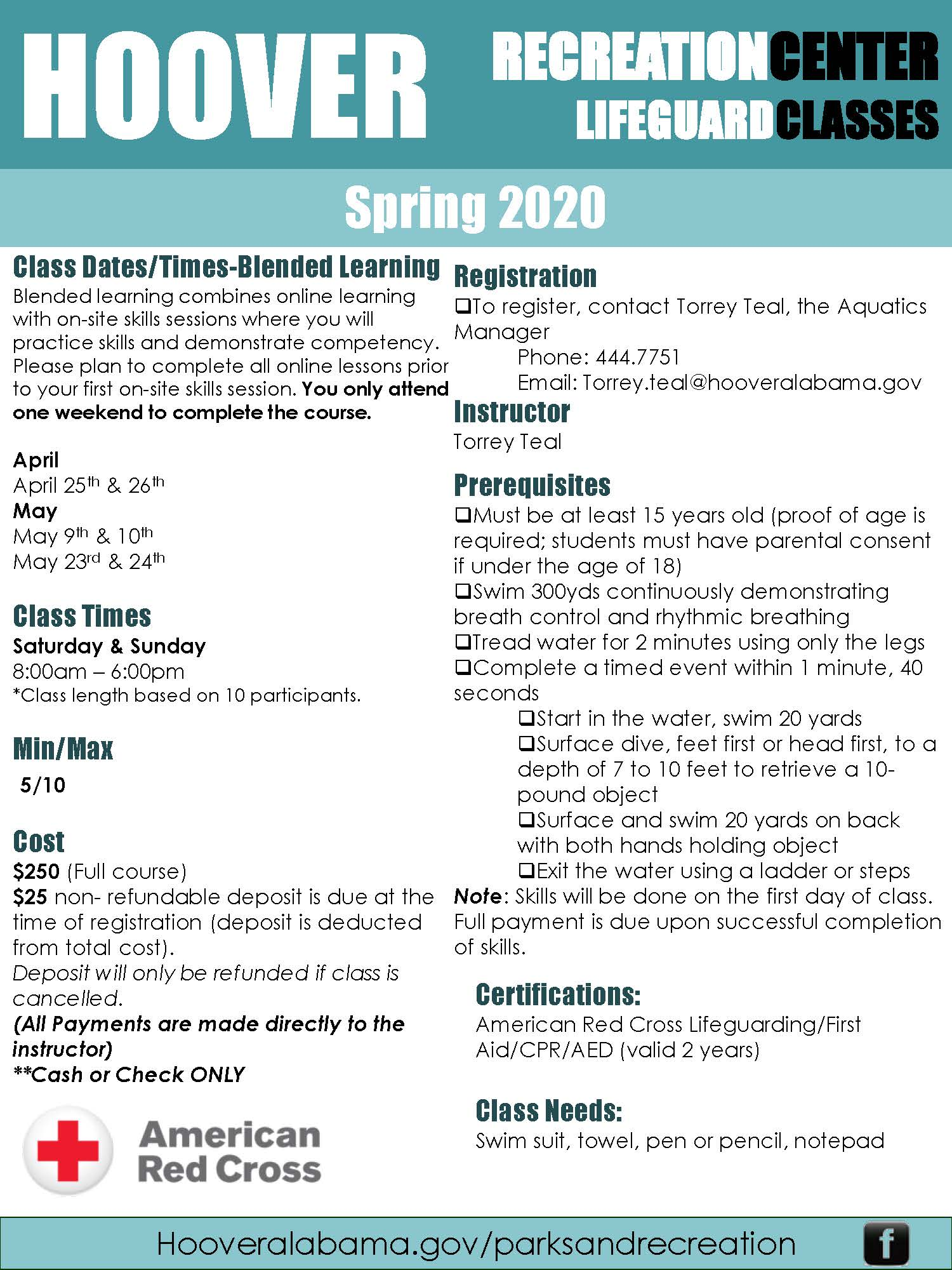 2020 Lifeguard Course Flyer